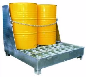 Picture of Drum Spill Containment Stand with back (2 Drums)