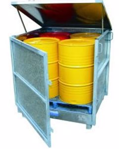 Picture of Drum Spill Containment Stand Enclosed with Lid (4 Drums)